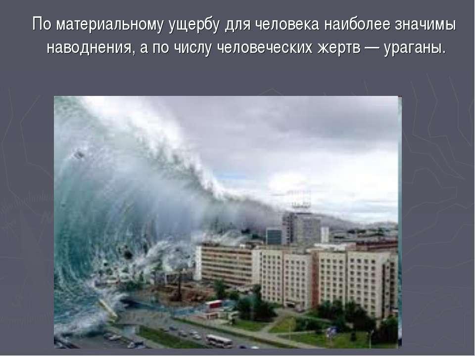По материальному ущербу для человека наиболее значимы наводнения, а по числу ...