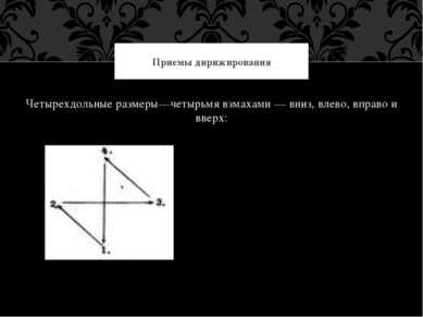Четырехдольные размеры—четырьмя взмахами — вниз, влево, вправо и вверх: Прием...