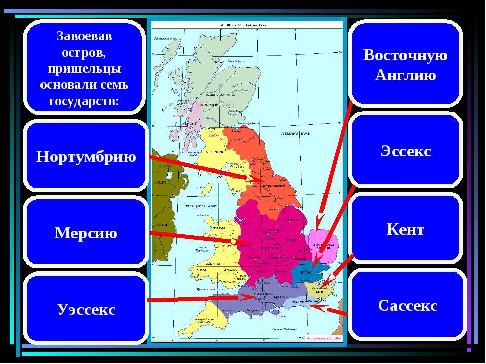 Завоевав остров, пришельцы основали семь государств: Восточную Англию Эссекс ...