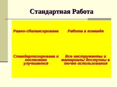 Стандартная Работа Равно-сбалансирована Работа в команде Стандартизирована и ...