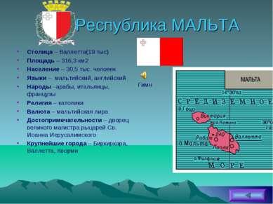 Республика МАЛЬТА Столица – Валлетта(19 тыс) Площадь – 316,3 км2 Население – ...