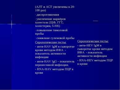 (АЛТ и АСТ увеличены в 20-100 раз) диспротеинемия увеличение маркёров холеста...