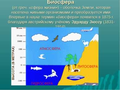 Биосфера (от греч. «сфера жизни») – оболочка Земли, которая населена живыми о...
