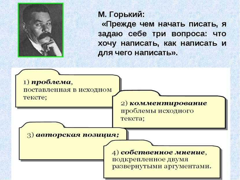 М. Горький: «Прежде чем начать писать, я задаю себе три вопроса: что хочу нап...