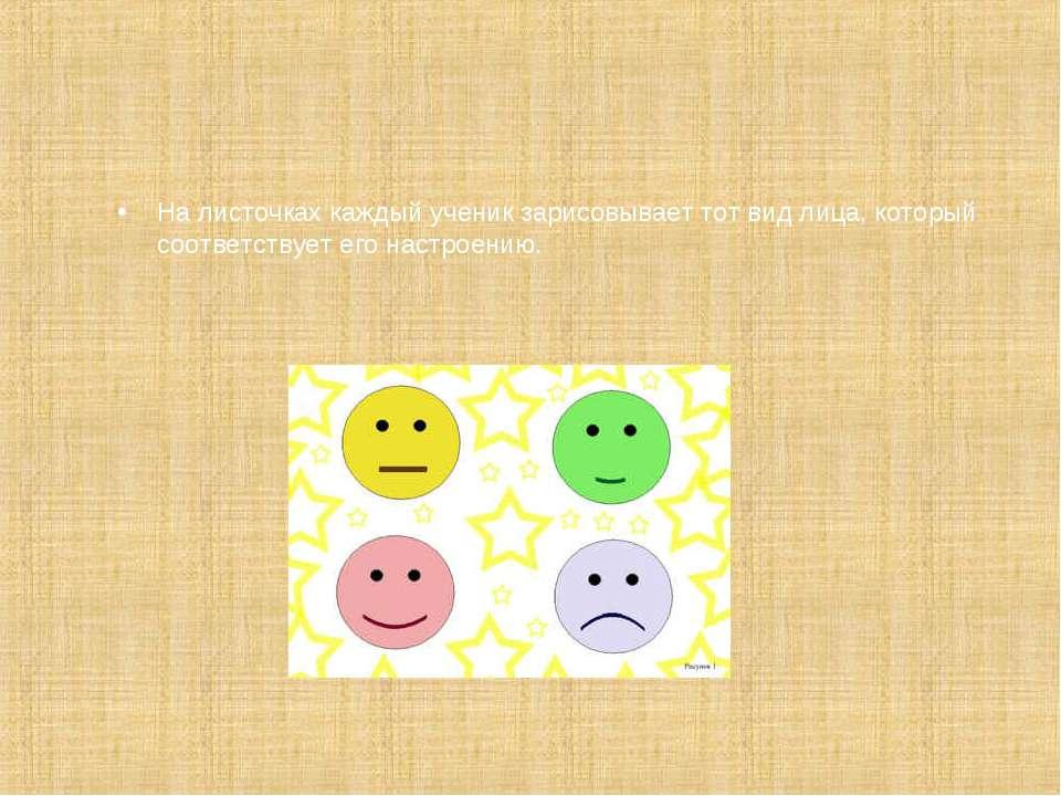 На листочках каждый ученик зарисовывает тот вид лица, который соответствует е...