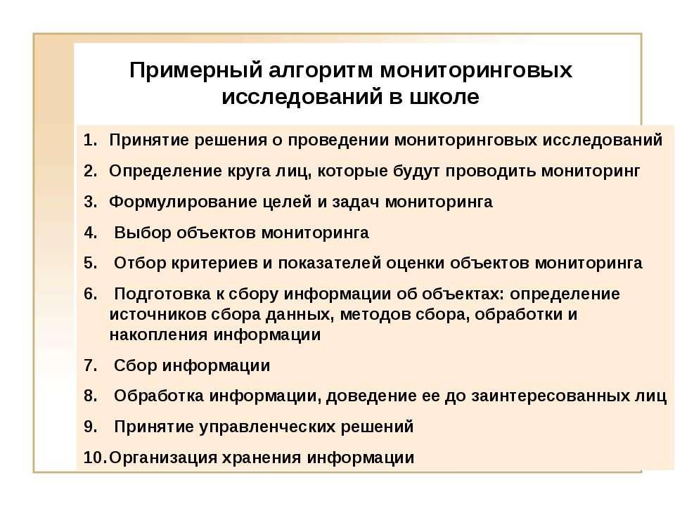 Примерный алгоритм мониторинговых исследований в школе Принятие решения о про...