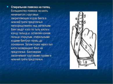 Спиральная повязка на палец . Большинство повязок на кисть начинается с круго...