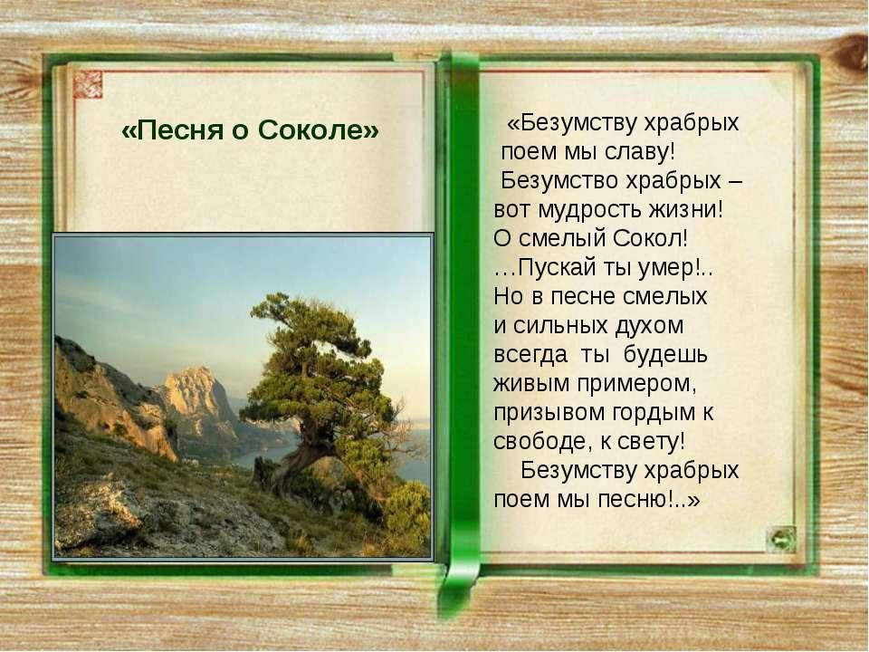 «Песня о Соколе» «Безумству храбрых поем мы славу! Безумство храбрых – вот му...