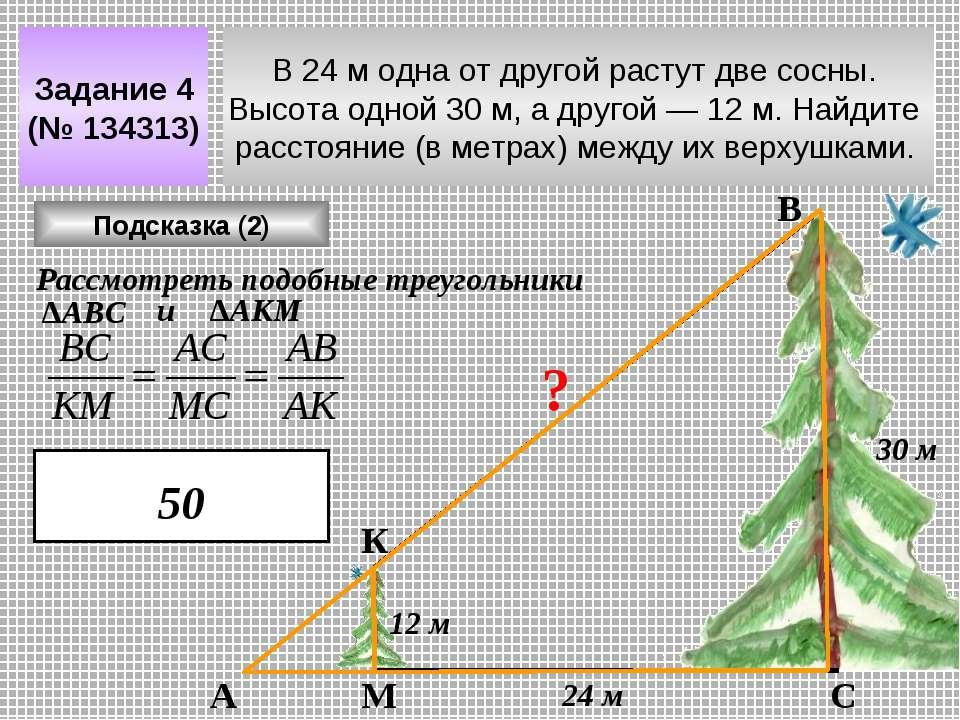 В 24 м одна от другой растут две сосны. Высота одной 30 м, а другой— 12 м. Н...