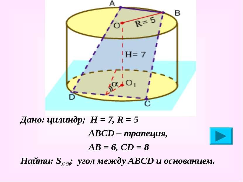 Дано: цилиндр; Н = 7, R = 5 АВСD – трапеция, АВ = 6, СD = 8 Найти: SABCD; уго...