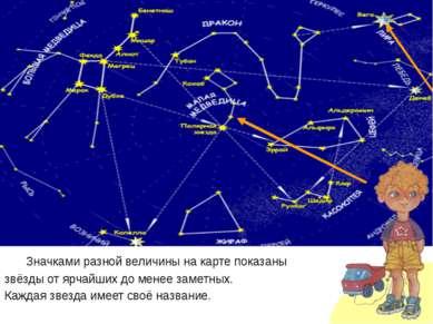 Значками разной величины на карте показаны звёзды от ярчайших до менее заметн...