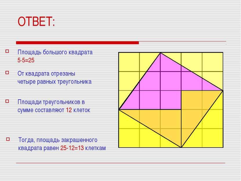 ОТВЕТ: Площадь большого квадрата 5·5=25 От квадрата отрезаны четыре равных тр...
