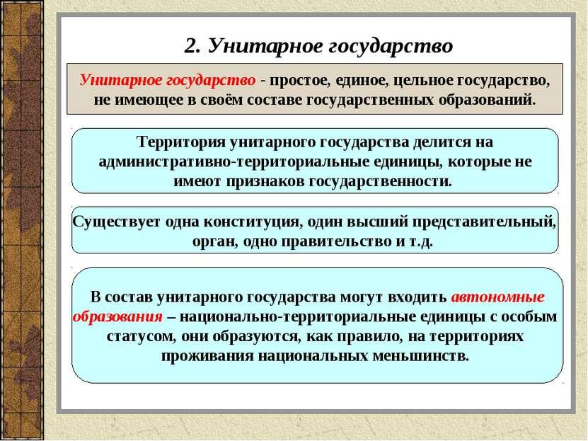 2. Унитарное государство Унитарное государство - простое, единое, цельное гос...
