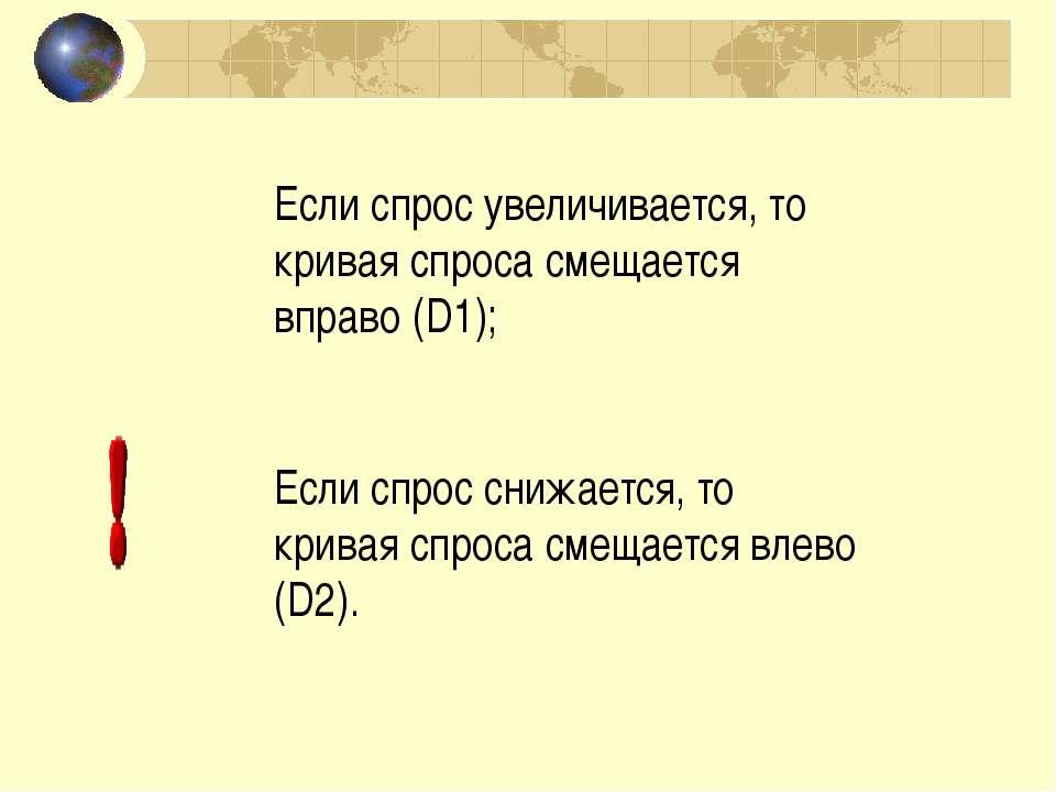Если спрос увеличивается, то кривая спроса смещается вправо (D1); Если спрос ...