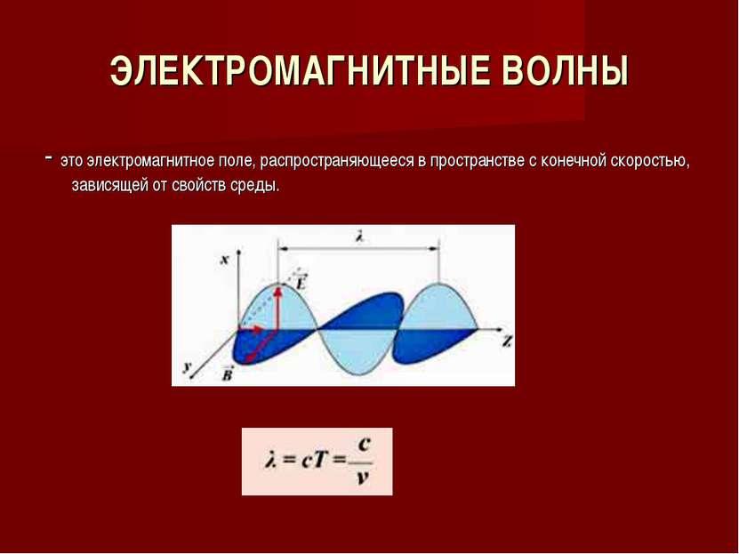 ЭЛЕКТРОМАГНИТНЫЕ ВОЛНЫ - это электромагнитное поле, распространяющееся в прос...