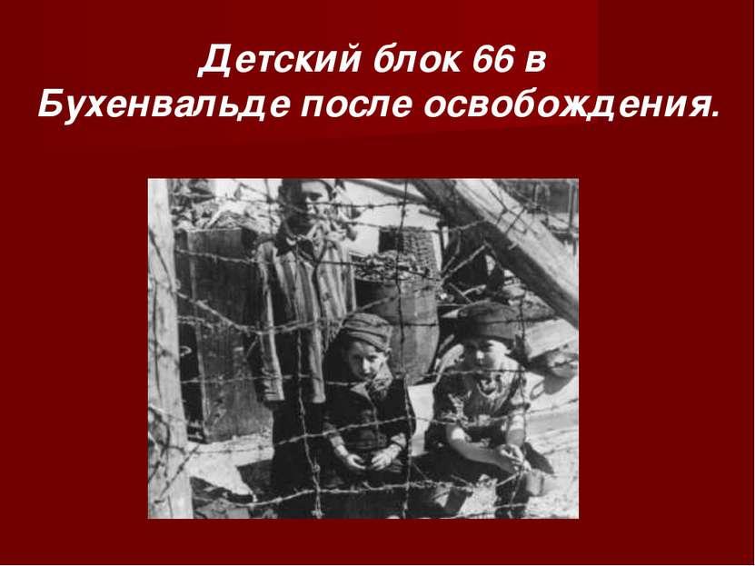 Детский блок 66 в Бухенвальде после освобождения.