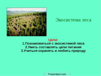 Цели: 1.Познакомиться с экосистемой леса 2.Уметь составлять цепи питания 3.Уч...