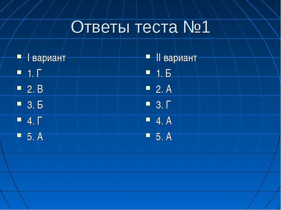 Ответы теста №1 I вариант 1. Г 2. В 3. Б 4. Г 5. А II вариант 1. Б 2. А 3. Г ...