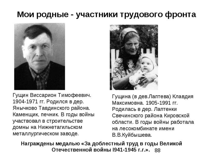 Мои родные - участники трудового фронта Гущин Виссарион Тимофеевич. 1904-1971...