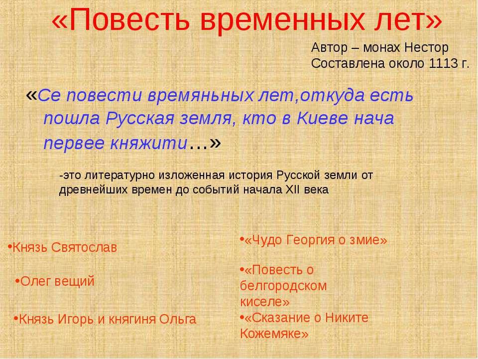 «Повесть временных лет» «Се повести времяньных лет,откуда есть пошла Русская ...