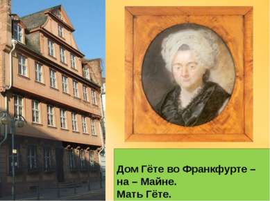 Дом Гёте во Франкфурте – на – Майне. Мать Гёте.