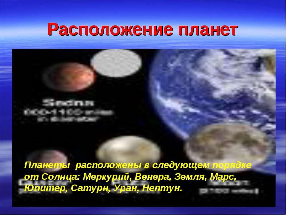 Расположение планет Планеты расположены в следующем порядке от Солнца: Меркур...