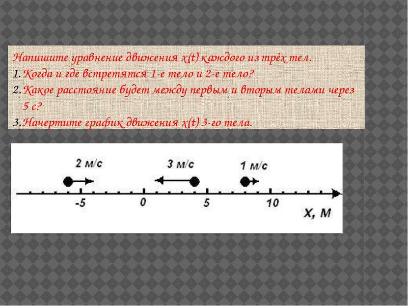 Напишите уравнение движения x(t) каждого из трёх тел. Когда и где встретятся ...