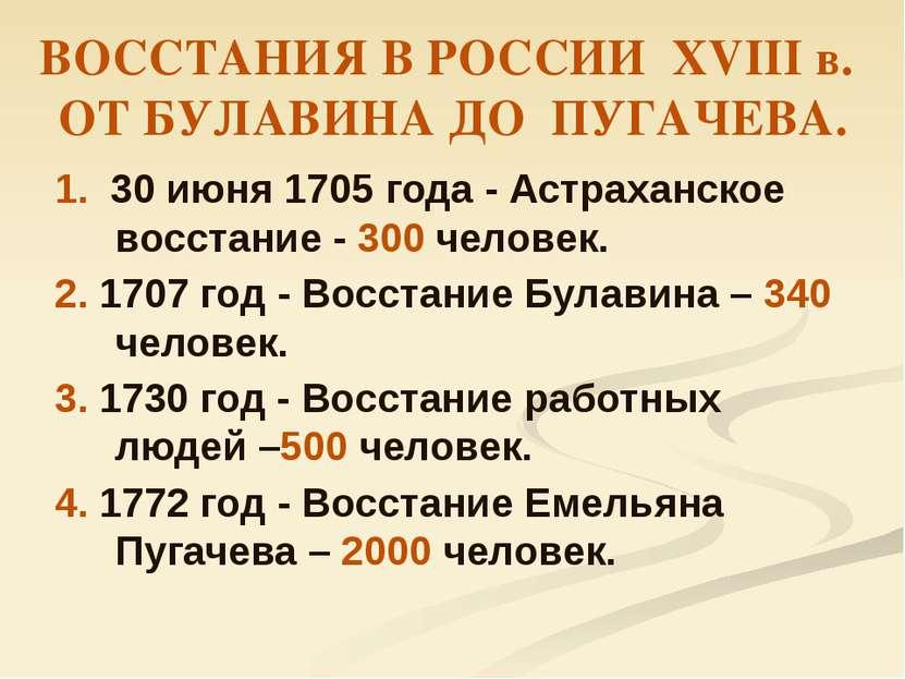 ВОССТАНИЯ В РОССИИ ХVIII в. ОТ БУЛАВИНА ДО ПУГАЧЕВА. 1. 30 июня 1705 года - А...