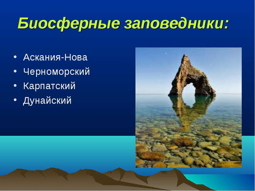 Биосферные заповедники: Аскания-Нова Черноморский Карпатский Дунайский
