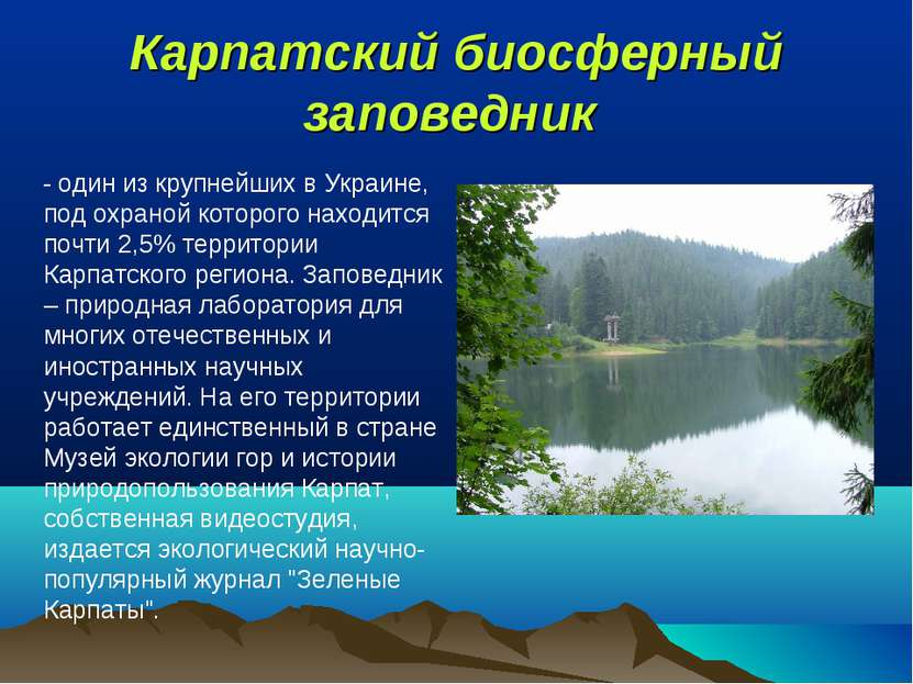 Карпатский биосферный заповедник - один из крупнейших в Украине, под охраной...