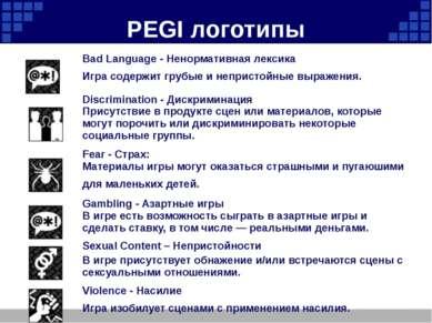 PEGI логотипы Bad Language - Ненормативная лексика Игра содержит грубые и неп...