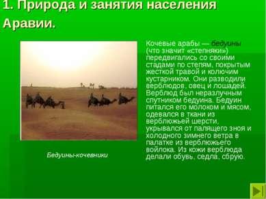 1. Природа и занятия населения Аравии. Кочевые арабы — бедуины (что значит «с...