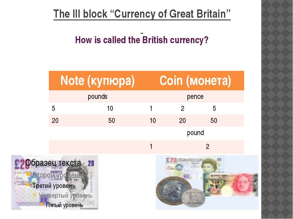 "The III block ""Currency of Great Britain"" How is called the British currency?..."