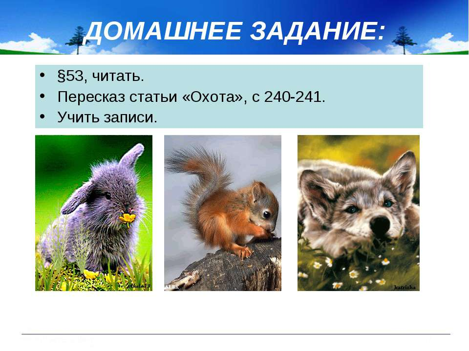 ДОМАШНЕЕ ЗАДАНИЕ: §53, читать. Пересказ статьи «Охота», с 240-241. Учить записи.