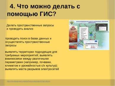 4. Что можно делать с помощью ГИС? http://moslesproekt.roslesinforg.ru/activi...