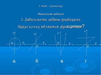 2. Зависимости заданы графиками. Какие из них являются функциями? 1 этап – ра...