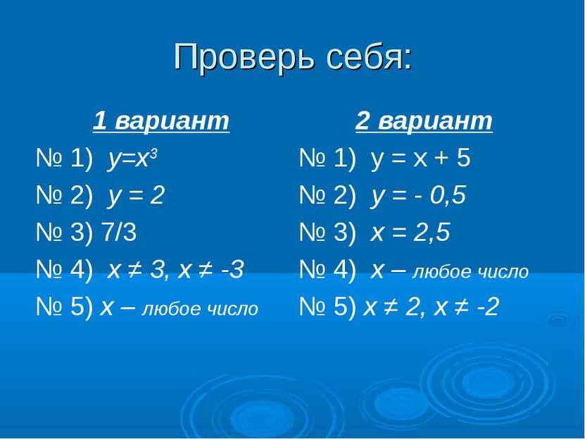 Проверь себя: 1 вариант 2 вариант № 1) y=x3 № 1) у = х + 5 № 2) у = 2 № 2) у ...