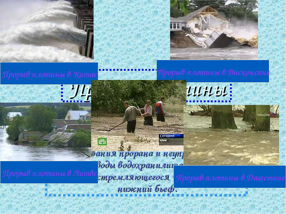 Прорыв плотины Прорыв плотины – начальная фаза гидродинамической аварии, то е...