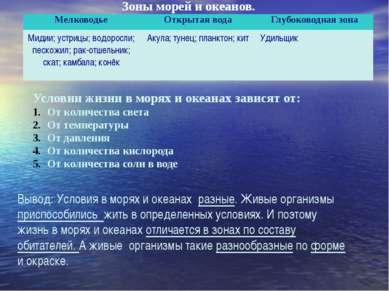 Зоны морей и океанов. Условии жизни в морях и океанах зависят от: От количест...
