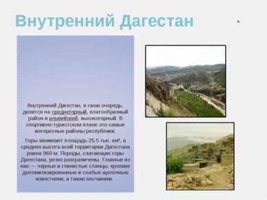 Внутренний Дагестан Внутренний Дагестан, в свою очередь, делится на среднегор...