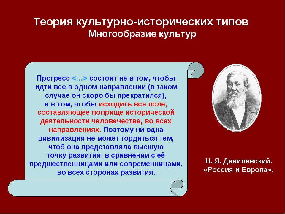 Теория культурно-исторических типов Многообразие культур Прогресс состоит не ...