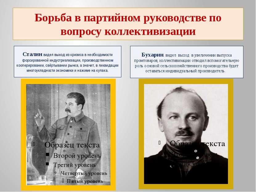 Борьба в партийном руководстве по вопросу коллективизации Сталин видел выход ...