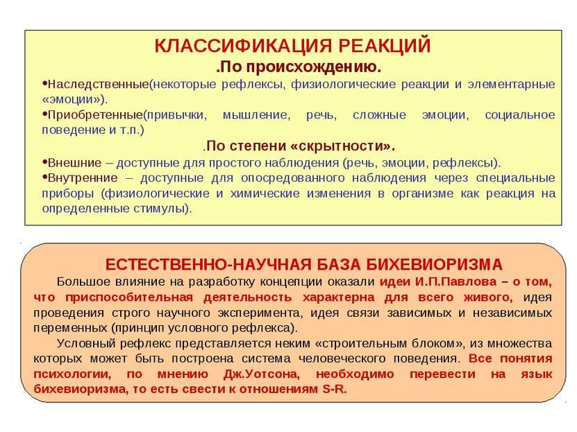 КЛАССИФИКАЦИЯ РЕАКЦИЙ .По происхождению. Наследственные(некоторые рефлексы, ф...
