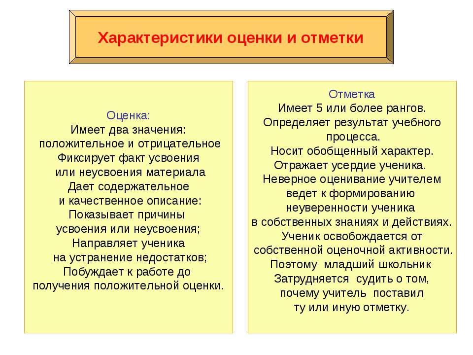 Характеристики оценки и отметки Оценка: Имеет два значения: положительное и о...
