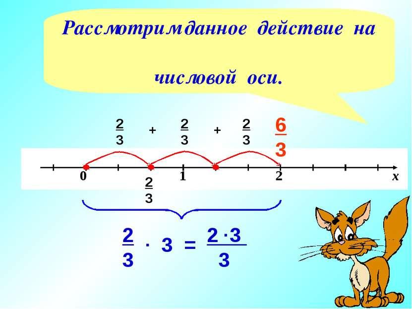 2 3 2 3 + 2 3 + 2 3 6 3 3 2 3 3 2 3 . = . Рассмотрим данное действие на число...