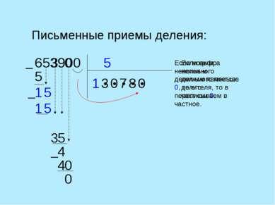 Письменные приемы деления: 5 653900 1 ● ● ● ● ● 5 1 3 5 5 1 3 Если цифра непо...