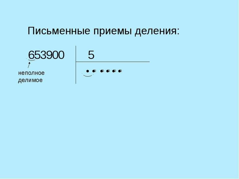 Письменные приемы деления: 5 неполное делимое ● 0 0 3 6 5 9 ● ● ● ● ●
