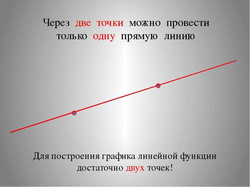 Через две точки можно провести только одну прямую линию Для построения график...