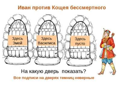 Иван против Кощея бессмертного Все подписи на дверях темниц неверные На какую...