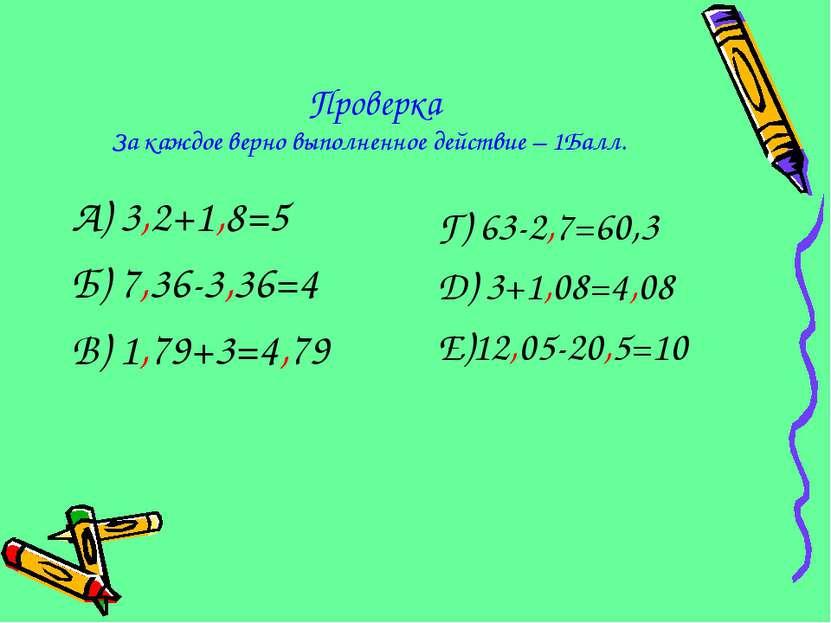 Проверка За каждое верно выполненное действие – 1Балл. А) 3,2+1,8=5 Б) 7,36-3...